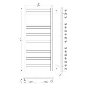 Схема Водяной полотенцесушитель Laris Атлант 500x1200 П16
