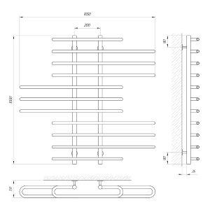 Схема Водяной полотенцесушитель Laris Диана 1050x1000 П11