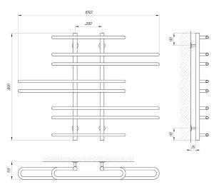 Схема Водяной полотенцесушитель Laris Диана 1050x800