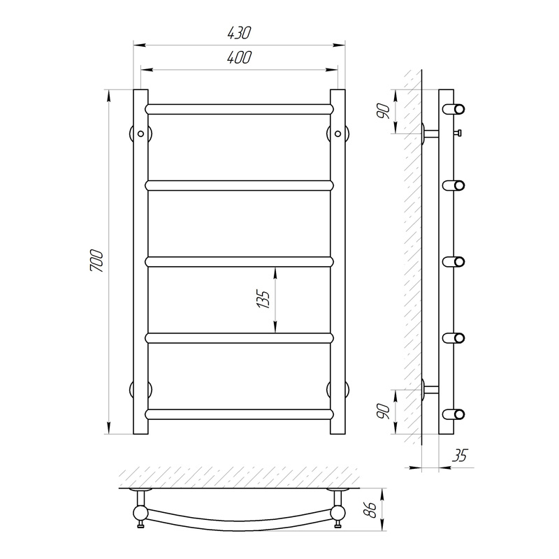 Схема Водяной полотенцесушитель Laris Флеш 400x600 П5