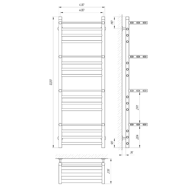 Схема Водяной полотенцесушитель Laris Форум 400x1200 П16 с плоками