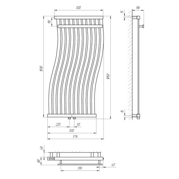 Схема Водяной полотенцесушитель Laris Фрирайд 500x1000 П11