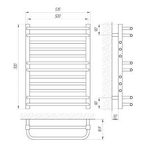 Схема Водяной полотенцесушитель Laris Гермес 500x700 П12