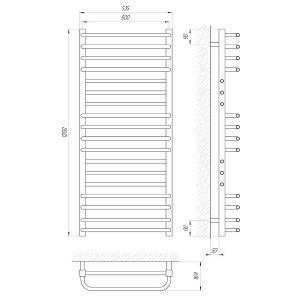 Схема Водяной полотенцесушитель Laris Гермес 500x1200 П18