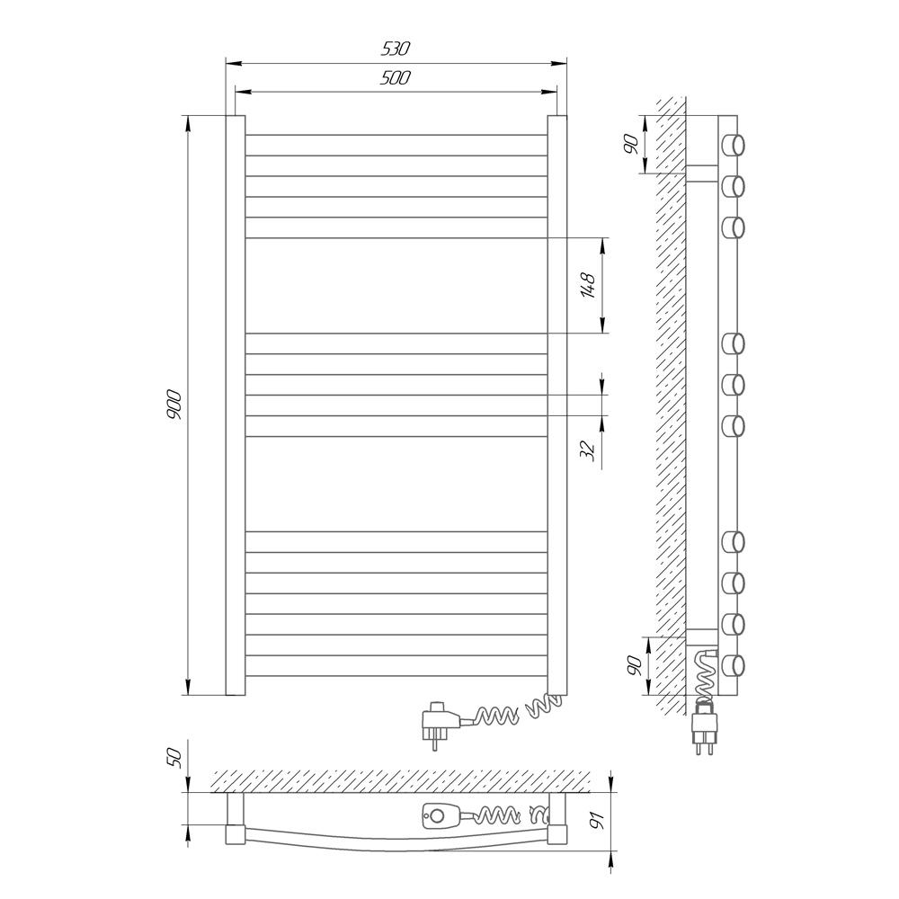 Схема Электрический полотенцесушитель Laris Гранд 500х900 Э П10 (подключение справа)