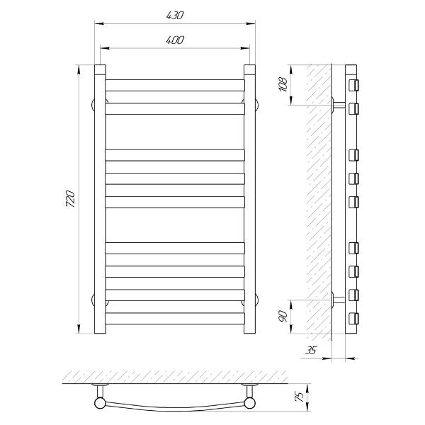 Схема Водяной полотенцесушитель Laris Кватро Классик 400x700 П9