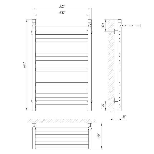 Схема Водяной полотенцесушитель Laris Кватро Классик 500x800 П10 с полкой