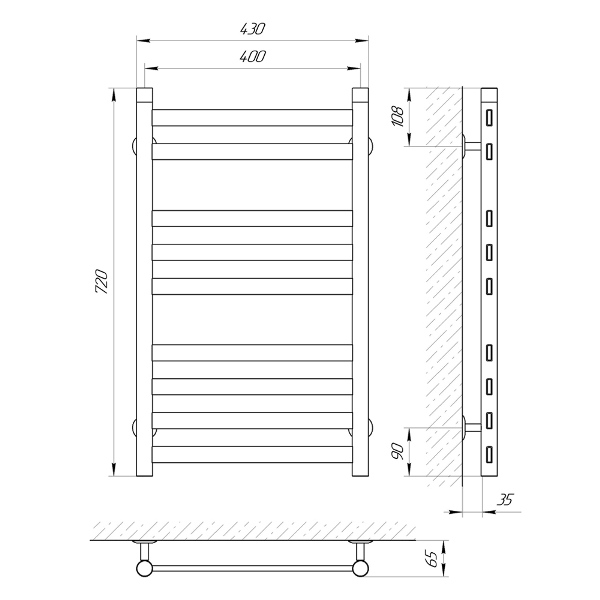 Схема Водяной полотенцесушитель Laris Кватро 400x700 П9