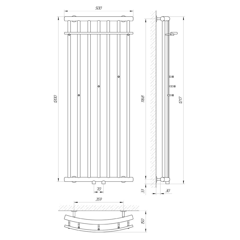 Схема Водяной полотенцесушитель Laris Ларис П 500x1200