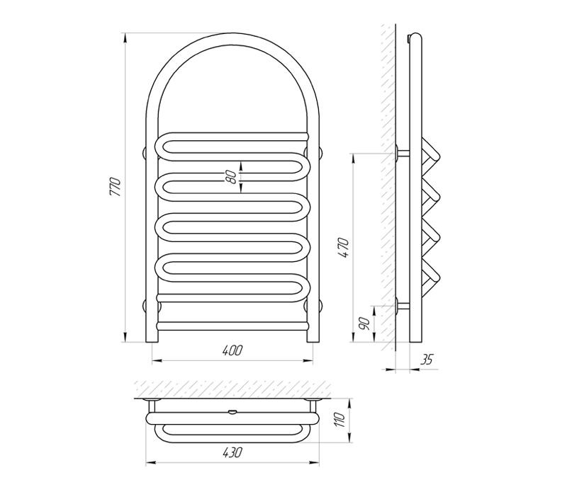 Схема Водяной полотенцесушитель Laris Лиана П 400x770