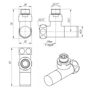 """Схема Кран угловой Luxon обычный 1/2"""" - 3/4"""" + эксцентрики 2шт. (ZZ-4701)"""
