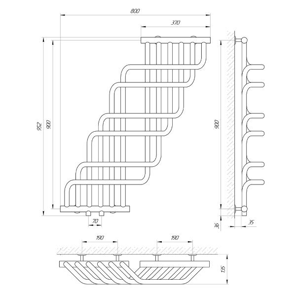 Схема Водяной полотенцесушитель Laris Ниагара П 370x900
