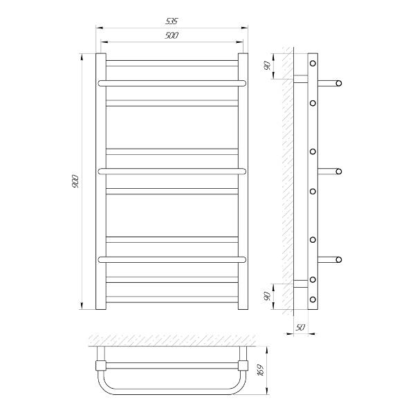 Схема Водяной полотенцесушитель Laris Ника 500x900 П10