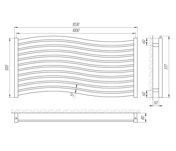 Схема Водяной полотенцесушитель Laris Серфинг 500x1000 П11