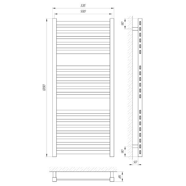 Схема Водяной полотенцесушитель Laris Солар 500x1200 П20