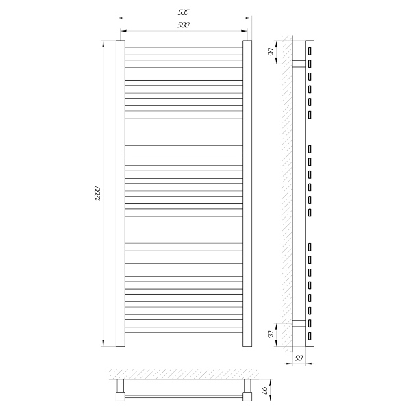 Схема Водяной полотенцесушитель Laris Солар 500x1200 С20