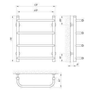 Схема Водяной полотенцесушитель Laris Стандарт 400x500 П4