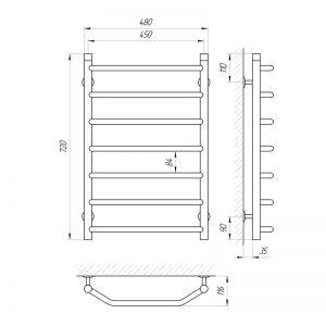 Схема Водяной полотенцесушитель Laris Виктория 450x700 П7