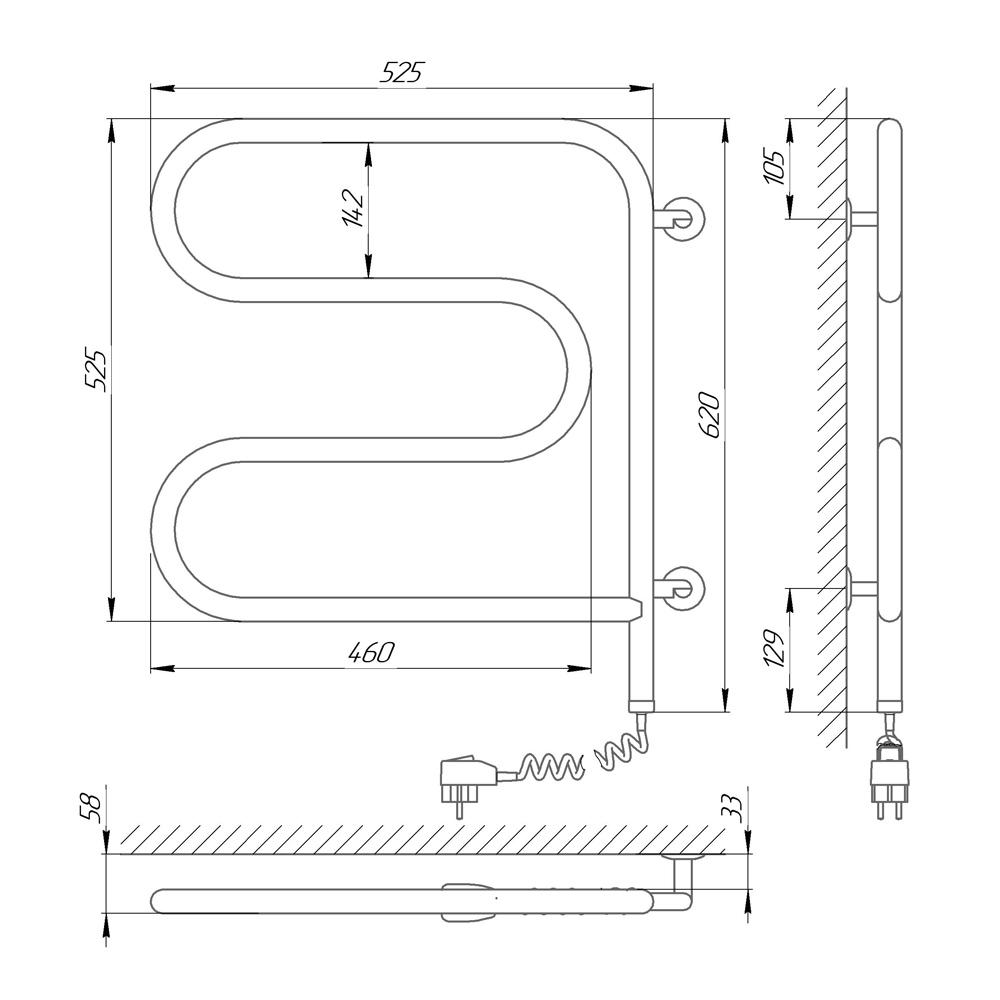Схема Электрический полотенцесушитель Laris Змеевик 25 РС3 500х500 поворотный Э