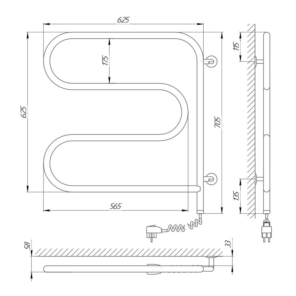 Схема Электрический полотенцесушитель Laris Змеевик 25 РС3 600х600 поворотный Э