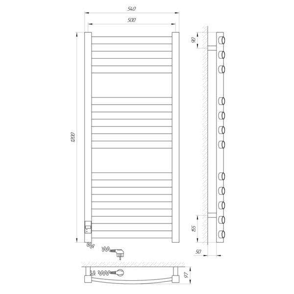 Схема Электрический полотенцесушитель Laris Атлант Премиум 500х1200 Э П12 (подключение слева)