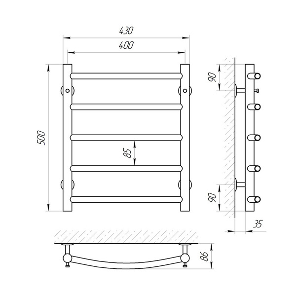 Схема Водяной полотенцесушитель Laris Классик 400x500 П5