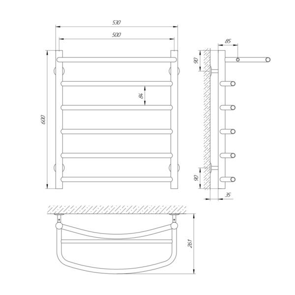 Схема Водяной полотенцесушитель Laris Классик 500x600 П6 с полкой