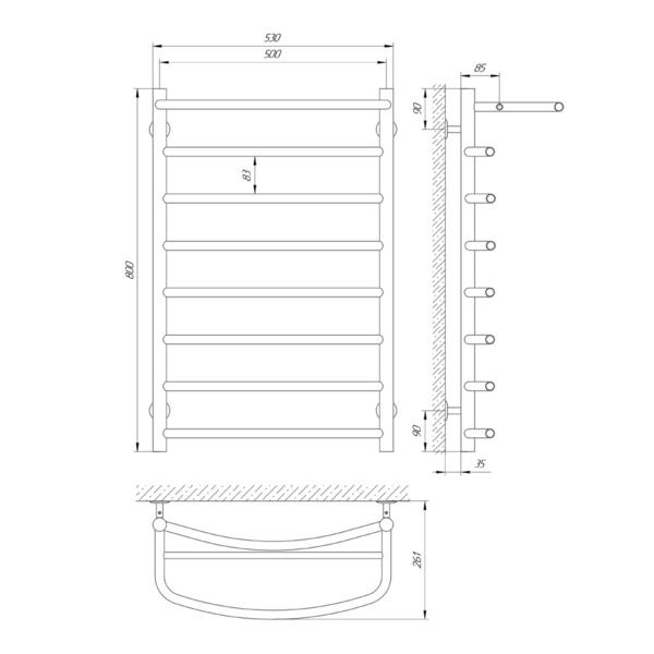 Схема Водяной полотенцесушитель Laris Классик 500x800 П8 с полкой