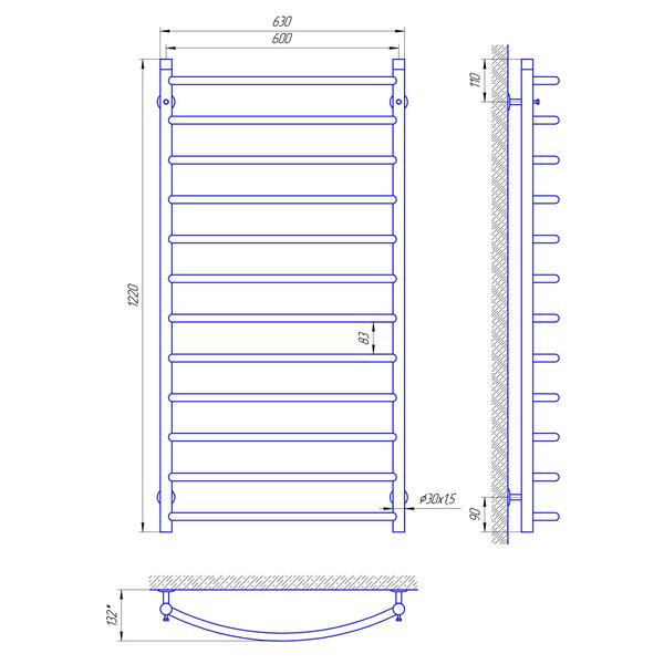 Схема Водяной полотенцесушитель Laris Классик 600x1200 П12