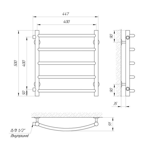 """Схема Водяной полотенцесушитель Laris Классик 400x500 П5 Б/П 1/2"""" МЦ600"""