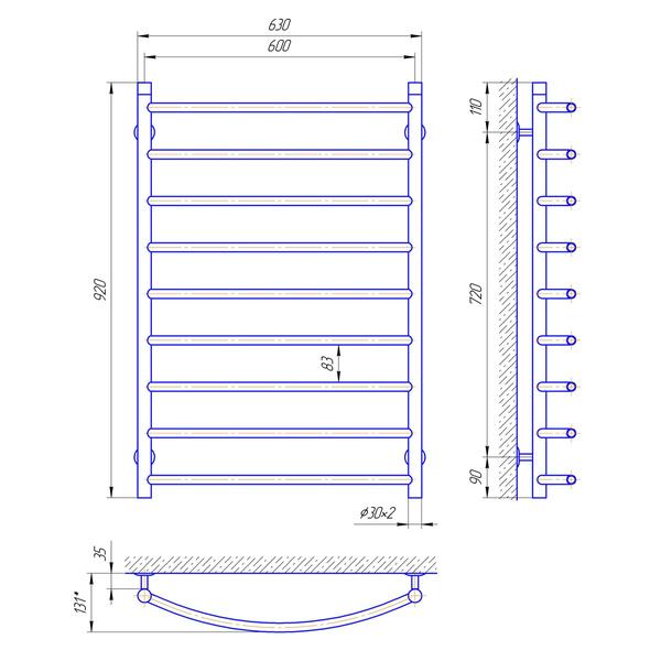 Схема Водяной полотенцесушитель Laris Классик 600x900 П9