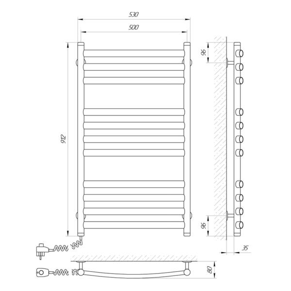 Схема Электрический полотенцесушитель Laris Классик Премиум 500х900 Э П11 (подключение слева)