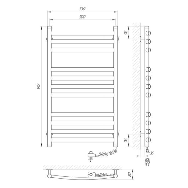 Схема Электрический полотенцесушитель Laris Классик Премиум 500х900 Э П11 (подключение справа)