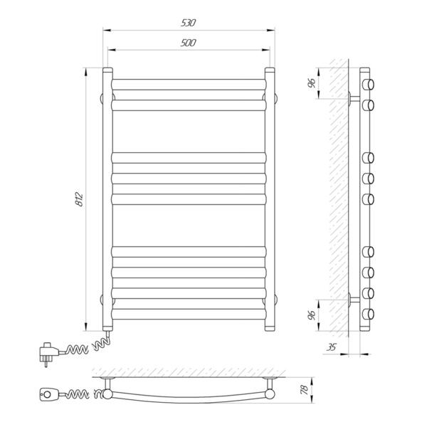Схема Электрический полотенцесушитель Laris Классик Премиум 500х800 Э П9 (подключение слева)