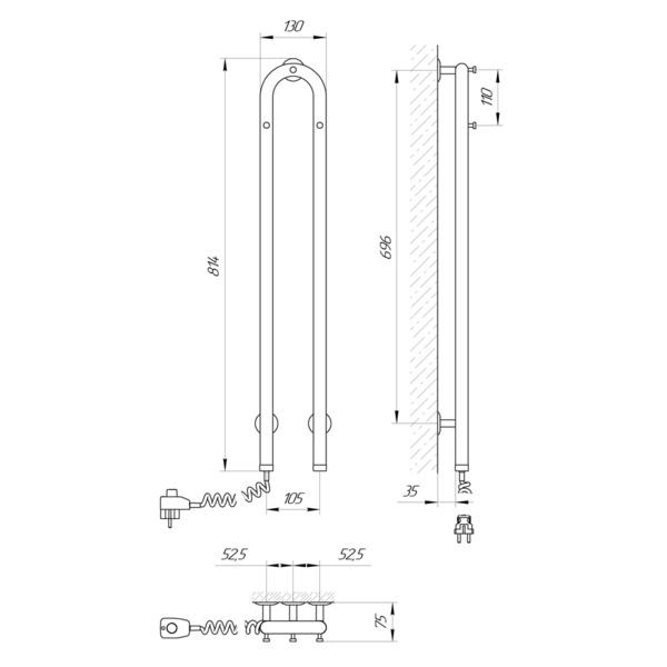 Схема Электрический полотенцесушитель Laris Джаз 105х800 Э (подключение слева)