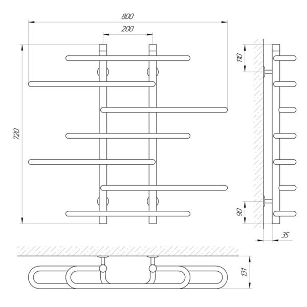 Схема Водяной полотенцесушитель Laris Этюд 800x700 П7