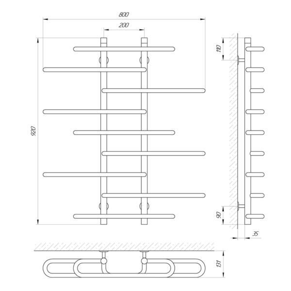 Схема Водяной полотенцесушитель Laris Этюд 800x900 П9