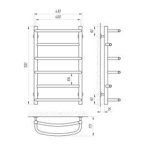 Схема Водяной полотенцесушитель Laris Еврофлеш 400x700 П6