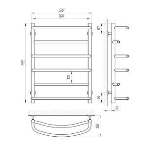 Схема Водяной полотенцесушитель Laris Еврофлеш 500x700 П6