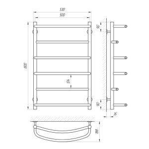 Схема Водяной полотенцесушитель Laris Еврофлеш 500x800 П6