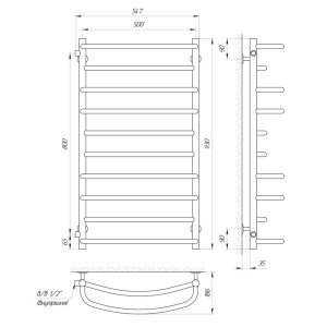 "Схема Водяной полотенцесушитель Laris Евромикс 500x900 П10 Б/П 1/2"" МЦ800"