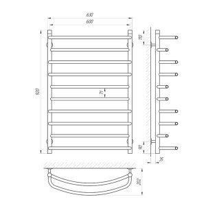 Схема Водяной полотенцесушитель Laris Евромикс 600x900 П10