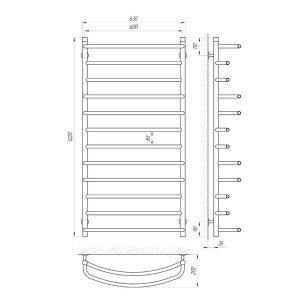Схема Водяной полотенцесушитель Laris Евромикс 600x1200 П12