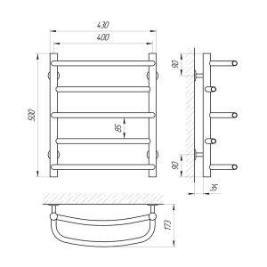 Схема Водяной полотенцесушитель Laris Евромикс 400x500 П5