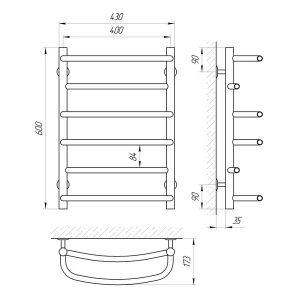 Схема Водяной полотенцесушитель Laris Евромикс 400x600 П6