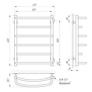 Схема Водяной полотенцесушитель Laris Евромикс 450x600 П8 Б/П МЦ500