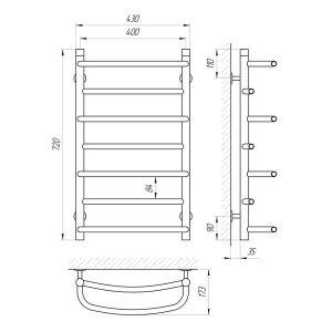 Схема Водяной полотенцесушитель Laris Евромикс 400x700 П7