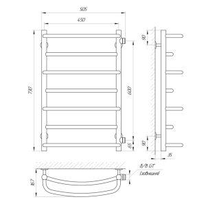 """Схема Водяной полотенцесушитель Laris Евромикс 450x700 П7 бокове подключение 1/2"""" МЦ 600"""