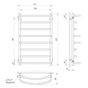 Схема Водяной полотенцесушитель Laris Евромикс 500x900 П10 Б/П МЦ800