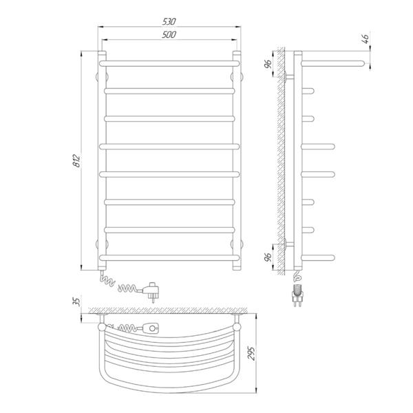 Схема Электрический полотенцесушитель Laris Евромикс П8 500х800 Э с полкой (подключение слева)